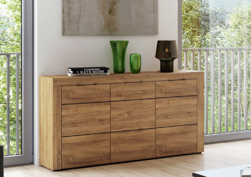 Camar Large Oak Effect 3 Drawer Sideboard K45 - 2706